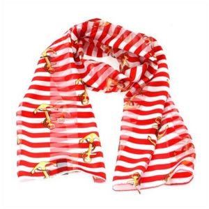 Anchor & stripes print oblong striped satin scarf